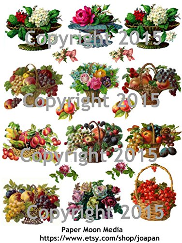 Victorian Scrap Die Cuts (Victorian Fruit Baskets Collage Sheet)