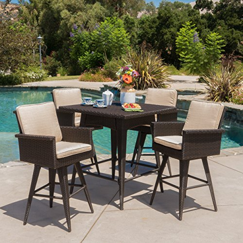 Christopher Knight Home Marbella Outdoor 5 Piece Dark Brown Wicker Bar Height Dining Set with Sand Sunbrella Cushions (Dining Bar Patio Set Height)