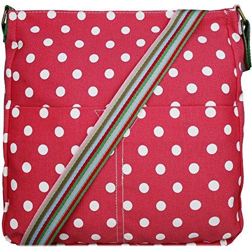 Mujer Niñas Búho Bolsa de lona de flores lunares mariposas - Polka Dots Pink