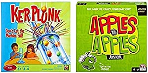 Mattel Games Ker Plunk Game AND Mattel Games Apples to Apples Junior - The Game of Crazy Comparisons (Packaging May Vary)