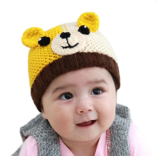 BIBITIME Knitted Dog Ear Beanie Baby Winter Hat Crochet Eyes Nose Puppy  Warm Cap (Coffee 4a138ede0a6