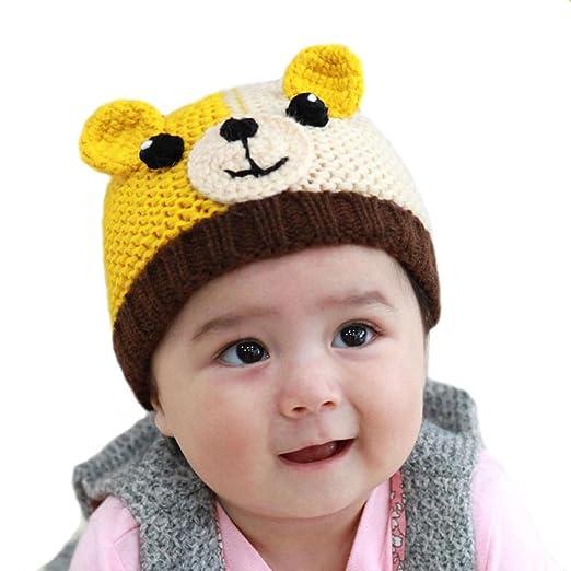 84dc626c2514 BIBITIME Knitted Dog Ear Beanie Baby Winter Hat Crochet Eyes Nose Puppy  Warm Cap (Coffee