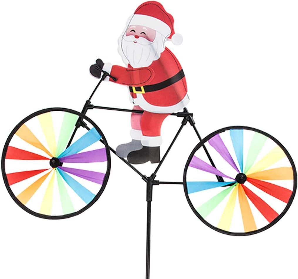Home Queen Bike Spinner, 3D Christmas Santa Claus on Bike Windmill, Colorful Rainbow Wheel Wind Spinner, Whirligig Pinwheel Garden Yard Outdoor Décor