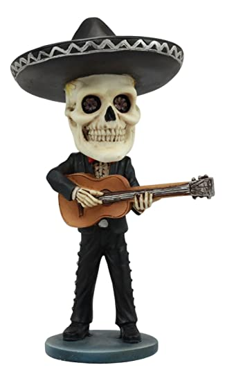 "Ebros Day Of The Dead Skeleton Wedding Mariachi Guitar Player Bobblehead Statue 6""Tall Traditional"