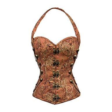 88224e8fd9e Little Hunter Womens Sexy Lace Floral See Through Waist Slimming Corset Top