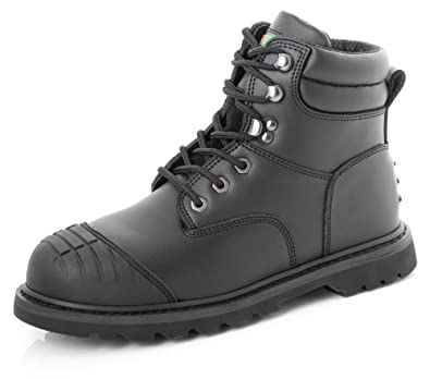 468d2446863 Click Goodyear Welted Safety Work Boots Steel Toecap Scuff Cap Black ...