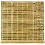 "Casual Style Tropical Decor - 6 ft. Classic Burnt Bamboo Roll Up Design Blinds - Natural - Choose 24"", 36"", 48"",60"", or 72"" Width"