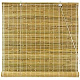 Oriental Furniture WT-YJ1-8B50-24W Burnt Bamboo Roll Up Window Blinds, Natural, 24-Inch Wide