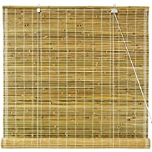 Oriental Furniture Burnt Bamboo Roll Up Blinds   Natural   (72 In. X 72