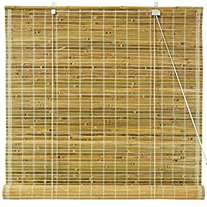Oriental Furniture Burnt Bamboo Roll Up Blinds Natural 36 In