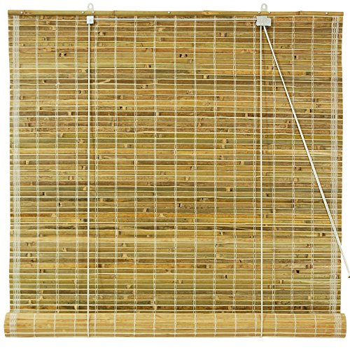 Oriental Furniture Burnt Bamboo Roll Up Blinds - Natural - (24 in. x 72 in.)