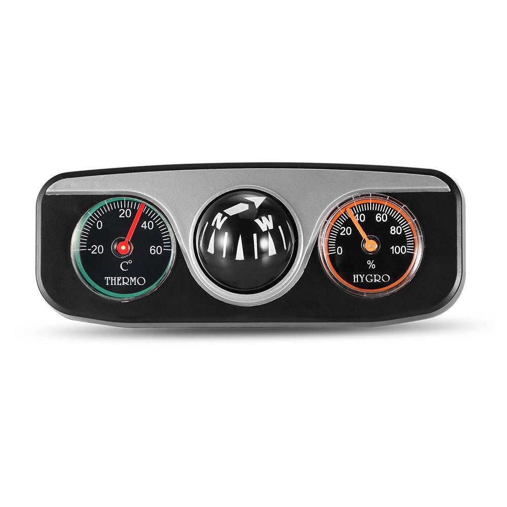 TiooDre Mini 3 en 1 Bola de guía de Coche con brújula termómetro higrómetro Integrado para Auto Barco vehículos