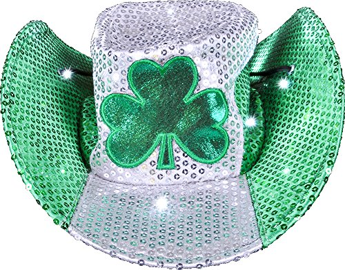 [St. Patrick's Day LED Cowboy Hat] (Light Up Costumes For Adults)