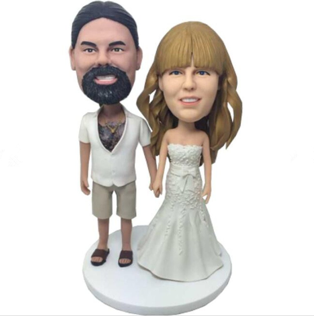 Custom Casual Groom Wedding Bobblehead Polymer Clay Bobbleheads Cake Toppers