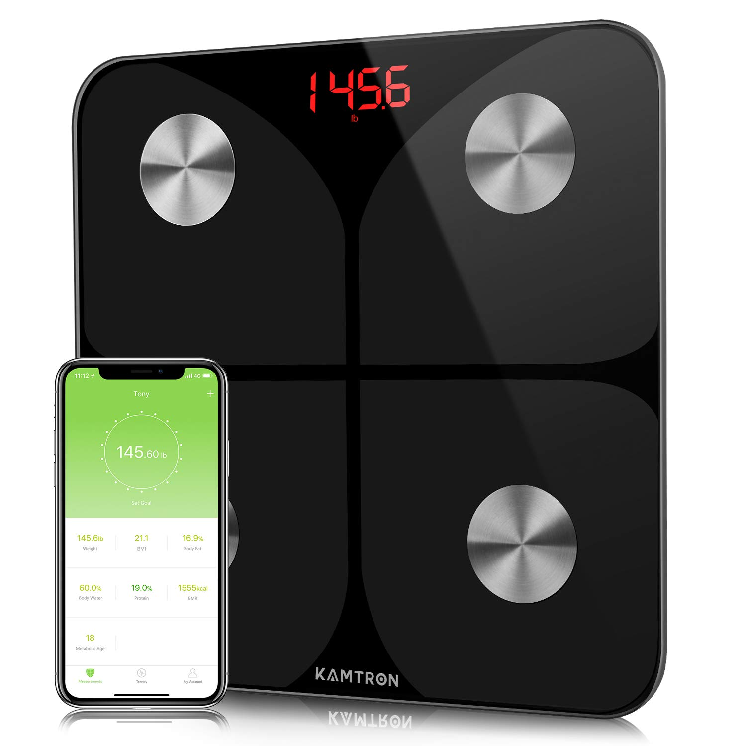 KAMTRON Smart Body Fat Scales - Bathroom Scales Body Composition Analyzer  Monitor, High Precision Measuring for BMI, Visceral Fat, Muscle, Body Age