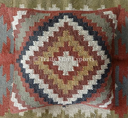 Trade Star Exports Indian Kilim Throw Pillow Cover 18x18, Jute Outdoor Cushions, Decorative Pillow Cases, Boho Cushion Cover, Pillow Shams ()