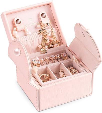 Caja para Joyas, para Pendientes, Pulseras, Anillo Organizador de viajes Mini Joyero Mujeres Pequeño caso de exhibición de joyería puerto con cerradura de almacenamiento for los anillos collares pulse: Amazon.es: Hogar