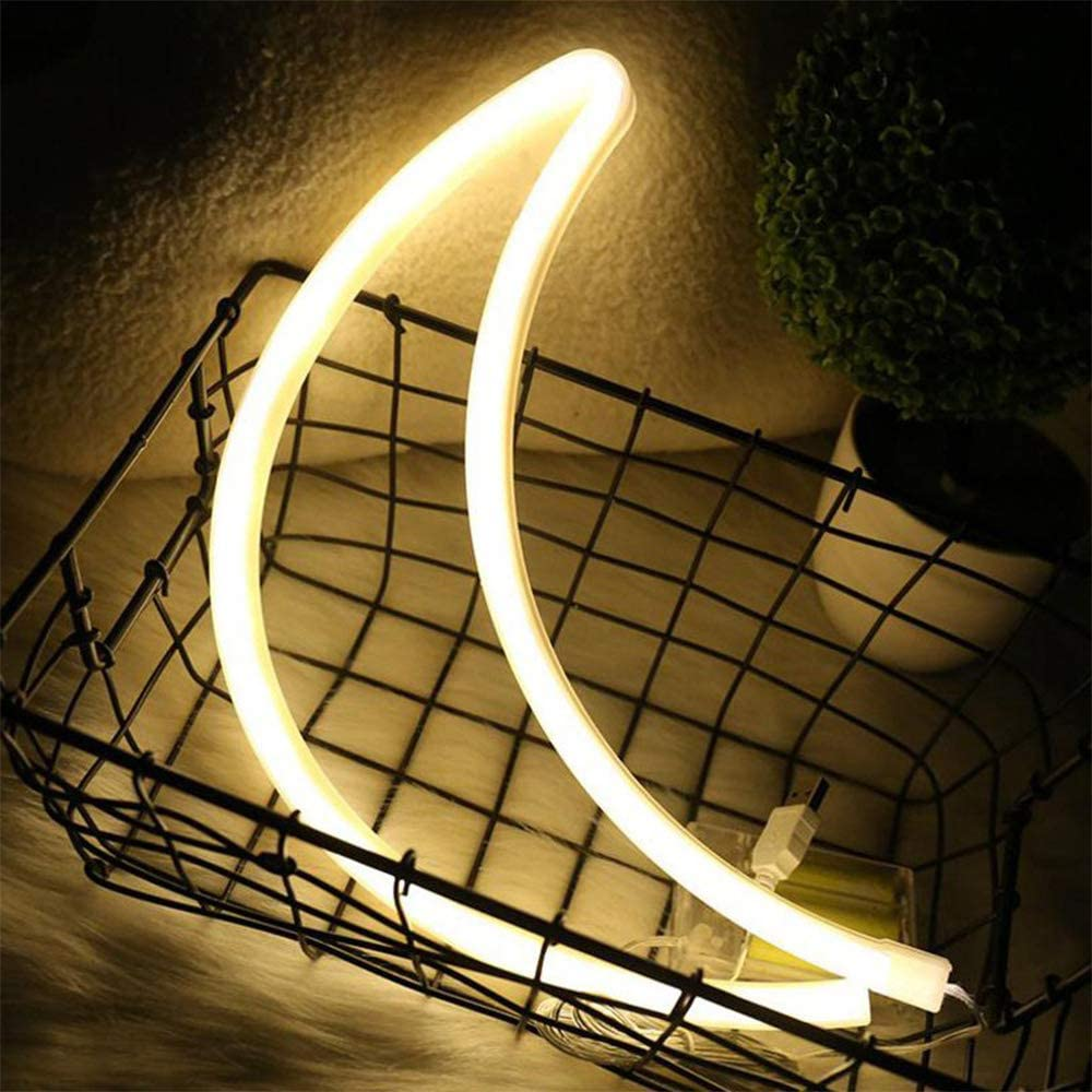 Cute Moon Shaped Led Neon Wall Lights Decorative Wall Hanging Lamps Usb Battery Powered Warm White Neon Night Light Decorative Light For Kids Room Home Holiday Gift Party Christmas Birthday Amazon Ca