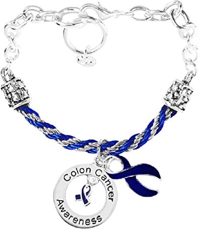 Amazon Com Fundraising For A Cause Colon Cancer Ribbon Charm Partial Rope Bracelet Dark Blue Ribbon Bracelet For Colon Colorectal And Rectal Cancer Awareness Clothing