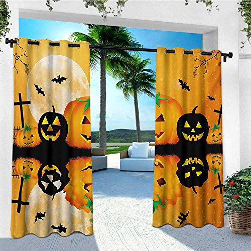 leinuoyi Halloween, Sun Zero Outdoor Curtains, Spooky Carved