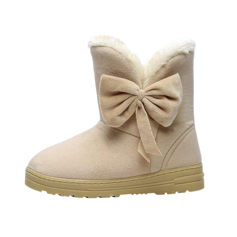 Meijunter Neige Femmes Fit Hiver Chaud Confort Fit Chaussures Bowknot Bottes De Neige Occasionnels Slip-on Flats Chaussures Beige afc5ccb - boatplans.space