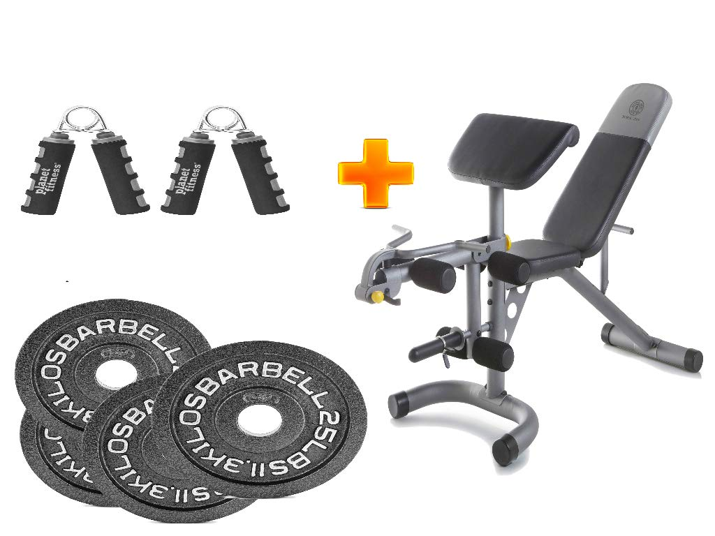 Golds Gym* XRS 20 Olympic Workout Bench + 2-Inch Olympic Plate(Set of 4) with Hand Grip - Bundle Set