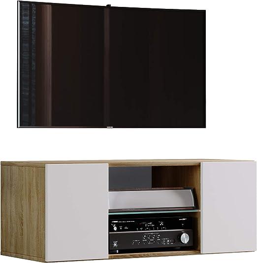 Vcm Tv Schrank Lowboard Tisch Board Fernseh Sideboard Wandschrank Wohnwand Holz Sonoma Eiche Weiss 40 X 95 X 36 Cm Jusa Amazon De Kuche Haushalt