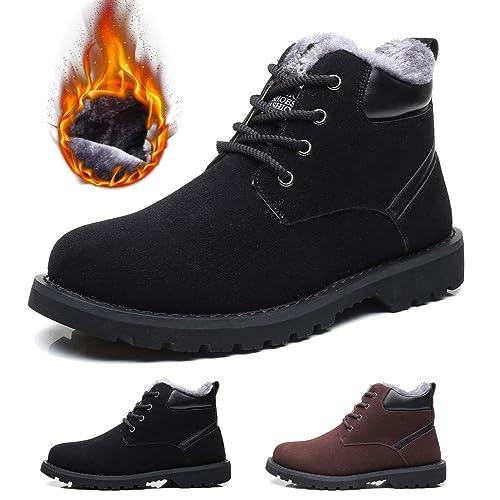 c519029c30b5 Gracosy Bottes Hiver Hommes, Chaussures de Ville en Daim avec Fourrure  Chaude Bottines de de