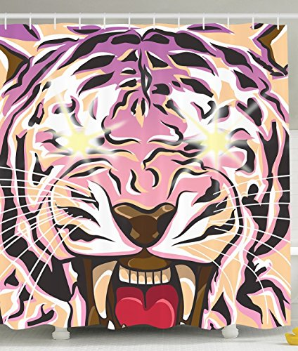 Animals Wildlife Decor Shower Curtain by Ambesonne, Roaring Striped Tiger Whiskers Modern Abstract Art Digital Print for Home,
