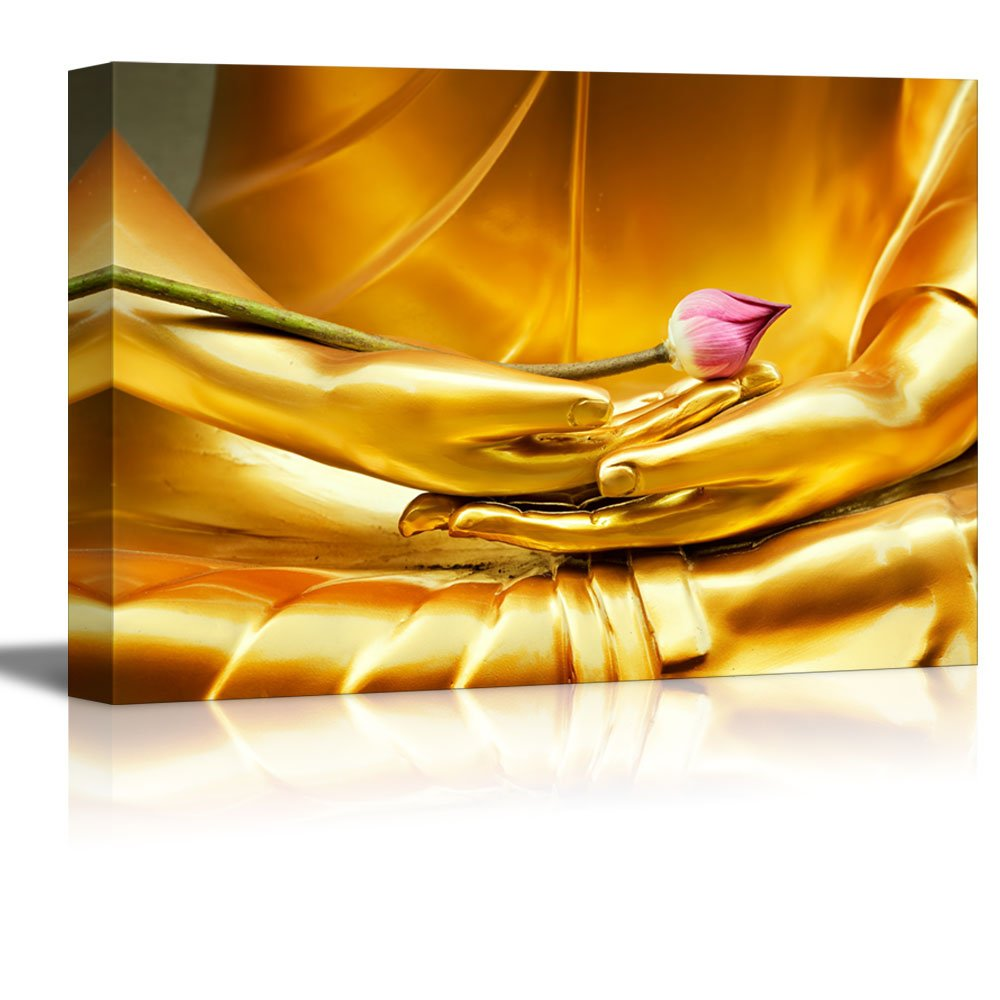 Golden Buddha Statue Holding Unbloomed Lotus Flower Wall Decor ation ...