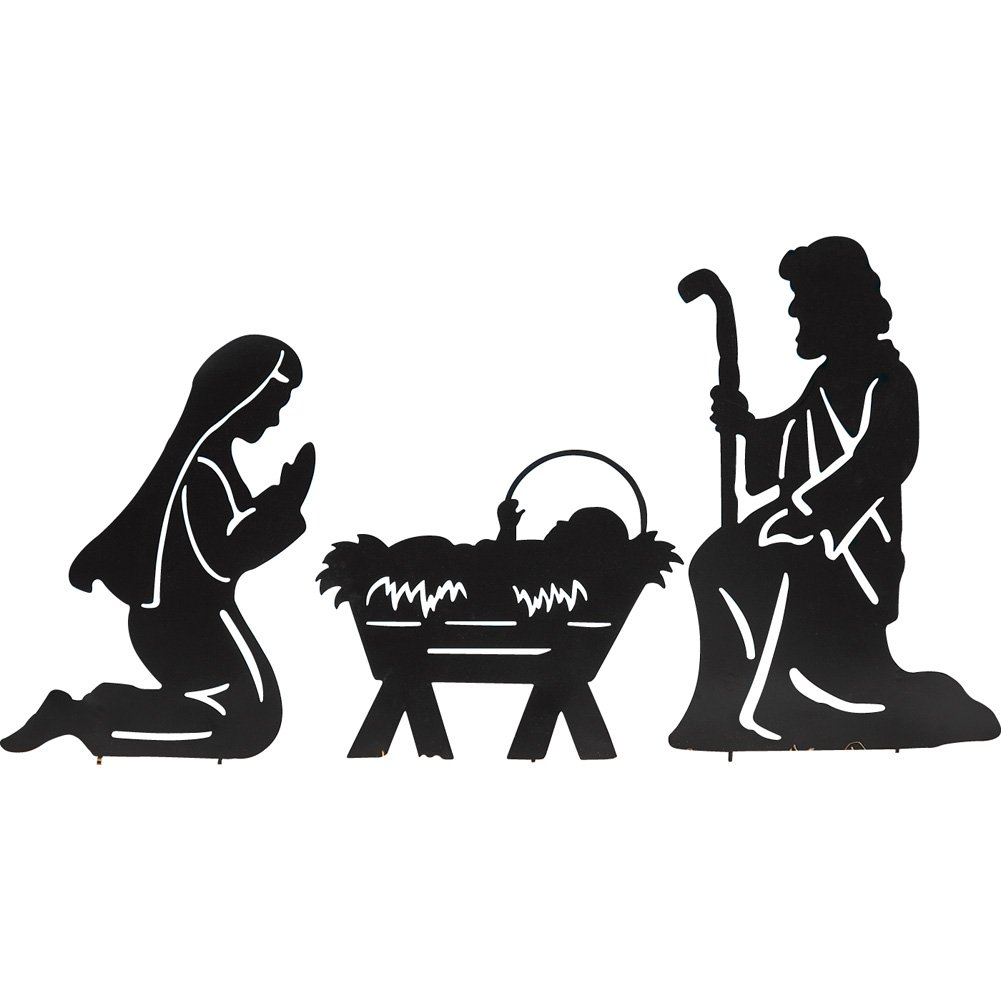 Holy Family Nativity Shadow Garden Stakes, Outdoor Christmas Decorations Collections Etc