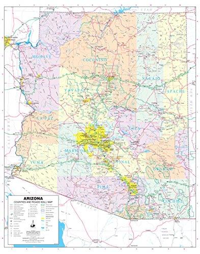 Arizona Wall Map (Arizona Counties and Roads Large Wall Map Dry Erase Laminated)