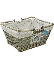 JVL Split Willow Shopping Storage Basket with Lining