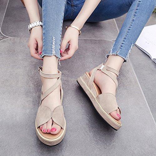 RUGAI-UE Sandalias de verano gruesa hebilla zapatos cómodos plana Apricot
