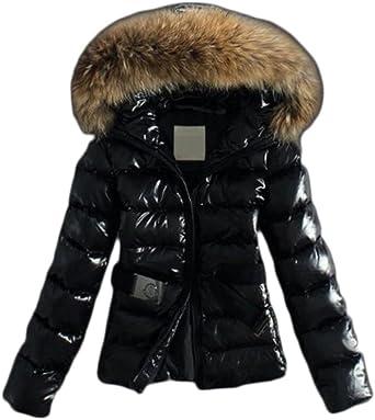 Black Shiny Puffer Faux fur Hood Coat
