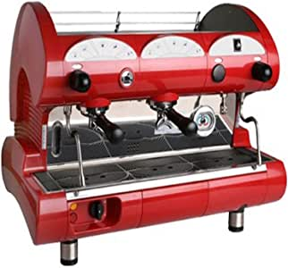 La Pavoni Bar-Star 2V-R 2-Group Volumetric Commercial Espresso Machine, 14L Boiler Water Capacity, Red
