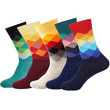 YoungSoul 5 pares calcetines estampados hombre calcetines divertidos de algodon calcetines de colores de moda 01: Amazon.es: Ropa y accesorios