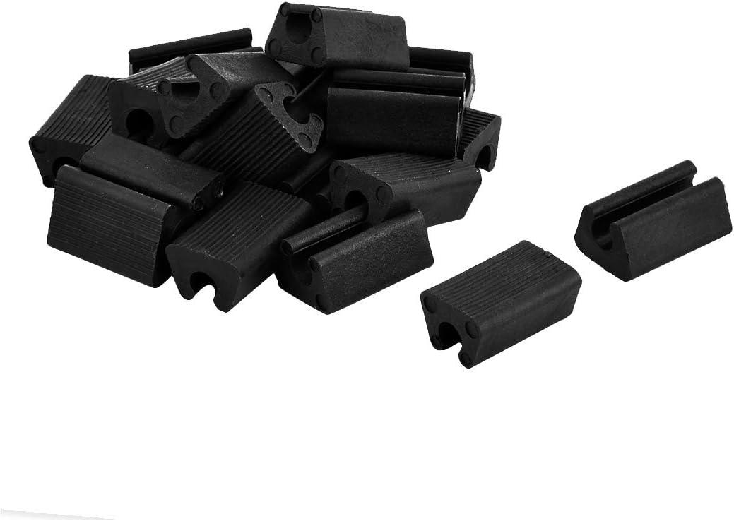 uxcell Plastic Rectangle Shaped Furniture Feet Non-Slip Table Legs Tip 20pcs Black