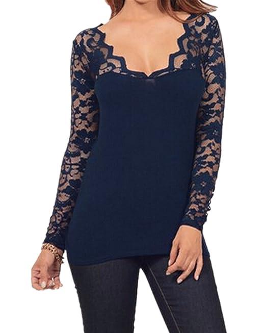 StyleDome Blusa Camiseta Casual Elegante Verano Algodón Encaje Cuello V para Mujer Gordita Azul Marino EU