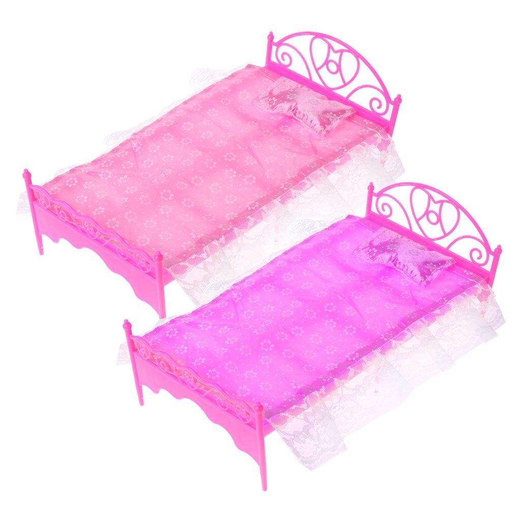 Guoyy Mini lit Rose avec Oreiller pour Jouet de Chambre à Coucher de poupée Barbie