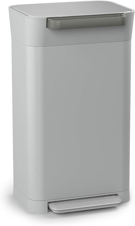 Joseph Joseph Titan Trash Compactor, Stainless Steel, Pebble, 30 L