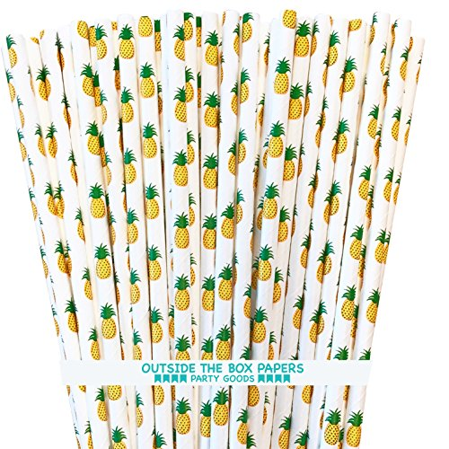 Pineapple Theme Paper Straws - Yellow Green White - 7.75 Inches - 100 Pack - Outside the Box Papers Brand -