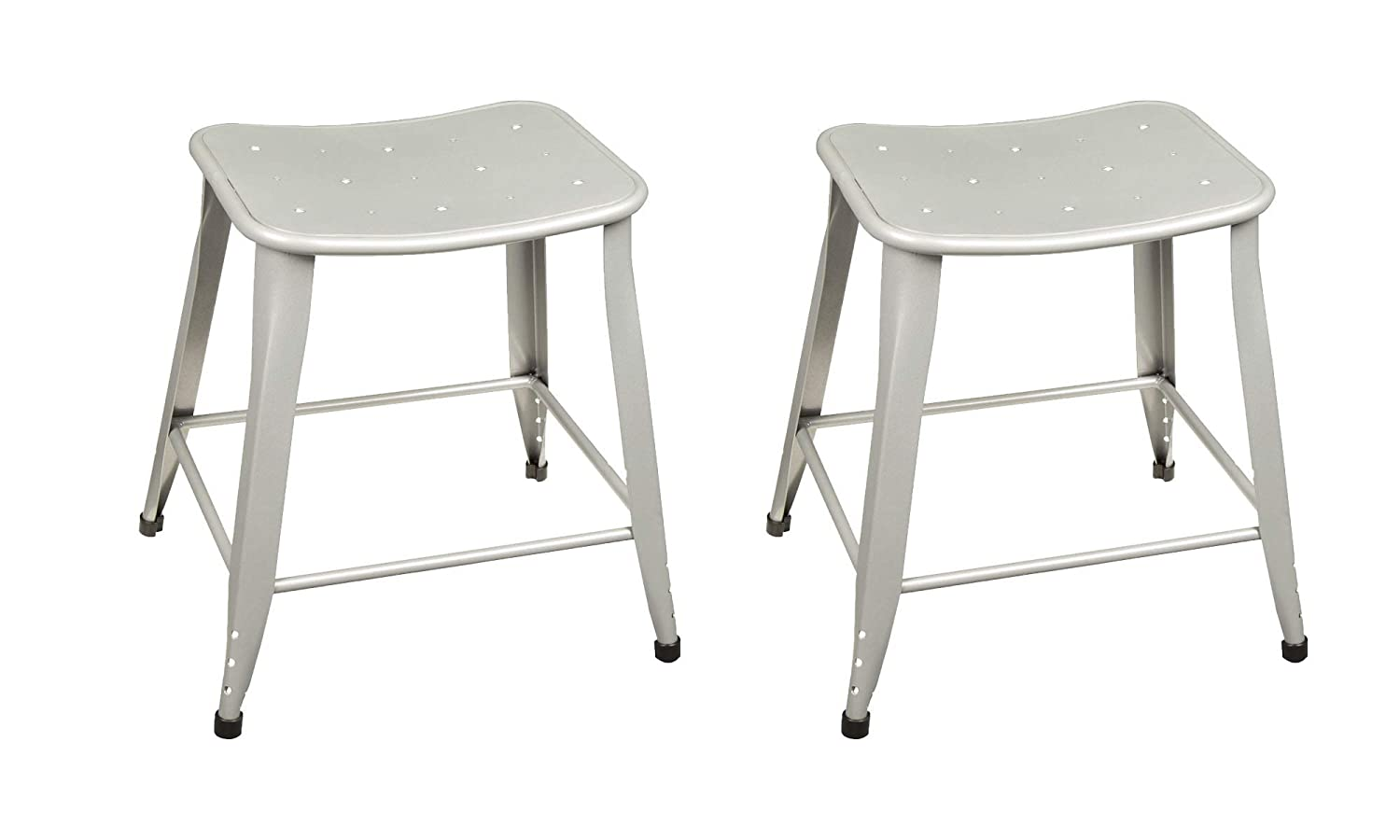 Miraculous Norwood Commercial Furniture Contoured Metal Stool 18 Seat Height Silver Nor Bt3604 18 So Pack Of 2 Onthecornerstone Fun Painted Chair Ideas Images Onthecornerstoneorg