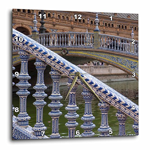 3dRose Danita Delimont - Bridges - Spain, Andalusia, Seville. Ornate bridge along the Plaza de Espana. - 15x15 Wall Clock (dpp_277895_3) by 3dRose