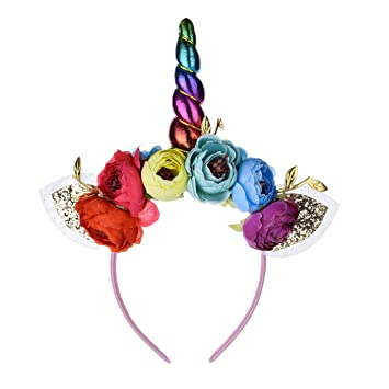 Amazon.com  Love Sweety Halloween Unicorn Headband Girls Birthday Flower  Crown Costume Headwear (Rainbow Rainbow-H)  Beauty 9caa2b7c890