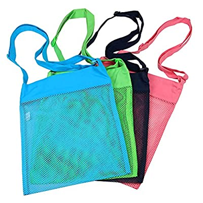 Colorful Mesh Beach Bags 11.4' x 13.7'inch Breathable Sea Shell Bags with Adjustable Carrying Straps (3 PC Set) Green, Blue, Tan & Red