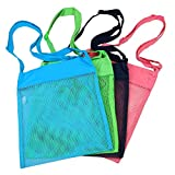 Colorful Mesh Beach Bags 11.4 x 13.7inch Breathable Sea Shell Bags with Adjustable Carrying Straps (4 PC Set) Green, Blue, Tan & Red