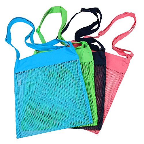 Colorful Mesh Beach Bags 11.4 x 13.7inch Breathable Sea Shell Bags with Adjustable Carrying Straps (4 PC Set)  [Blue, Pink, Green, and Black] ()
