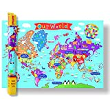 kids world map - ROUND WORLD PRODUCTS Kid's Laminated World Map Laminated Poster 36 x 24in