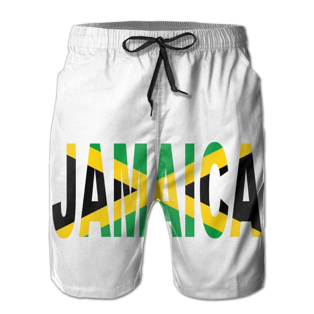 Colivy Jamaican Flag Men's Swim Trunks Beach Shorts Board Shorts with Pockets